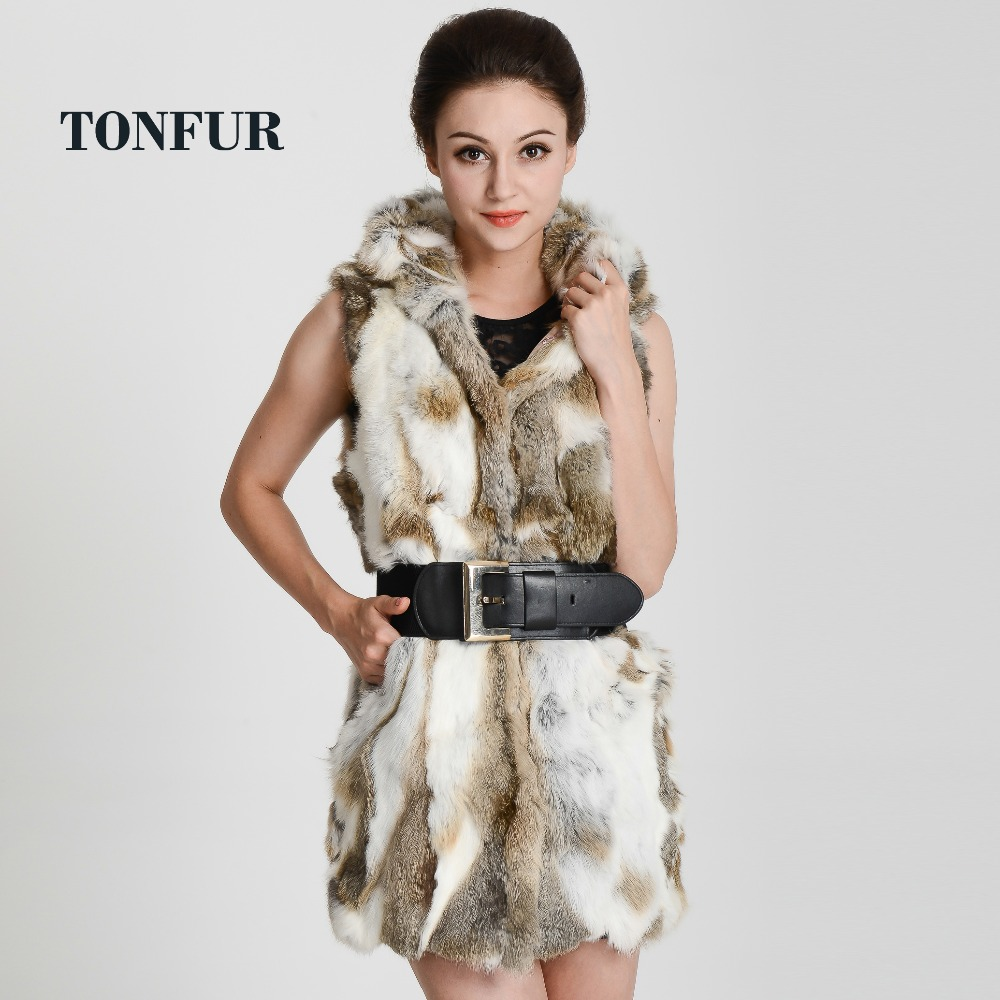 real rex rabbit fur vest hooded women's slim coat winter jacket THP272 - TopFur Fashion co.,Ltd store
