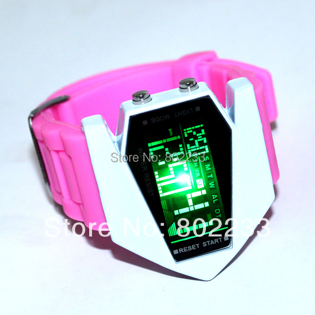 2014 New Fashion colorful Design LED Light plane Sport Wrist Watch Dot Matrix Mens WATCH HOT 50pcs/lot(China (Mainland))