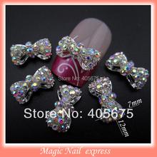 MNS220 3D alloy AB rhinestones bows nail art DIY nail jewelry charms decoration supplies bowknots 10pcs(China (Mainland))