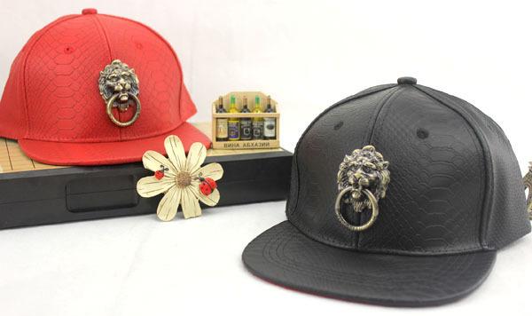 Custom Black& Red Blank Snapback Hat King Lion's Head Leather Baseball Cap Flat Brim(China (Mainland))