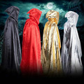 Adult Witch Long Cloak Gown Hooded Cloaks Cape Halloween Costumes for Women Men 150cm Witch Cloak