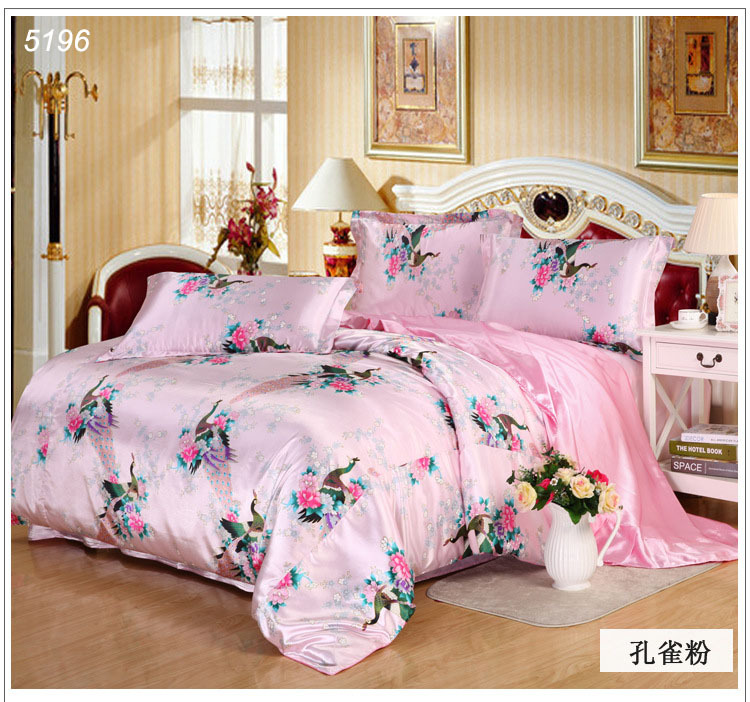 Peacock silk bedding set double-side silk bed linens tencel bedding sets pink satin bed covers Leopard silk linens hot 5196(China (Mainland))