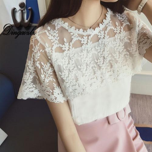 2016 Blusa Summer stitching Women clothing Lace Crochet Chiffon blouse Short Sleeved White shirt female lace Tops(China (Mainland))