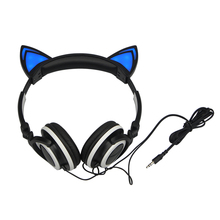 Foldable Flashing Glowing cat ear headphones Gaming Headset Earphone with LED light For PC Laptop Computer Mobile Phone(China (Mainland))