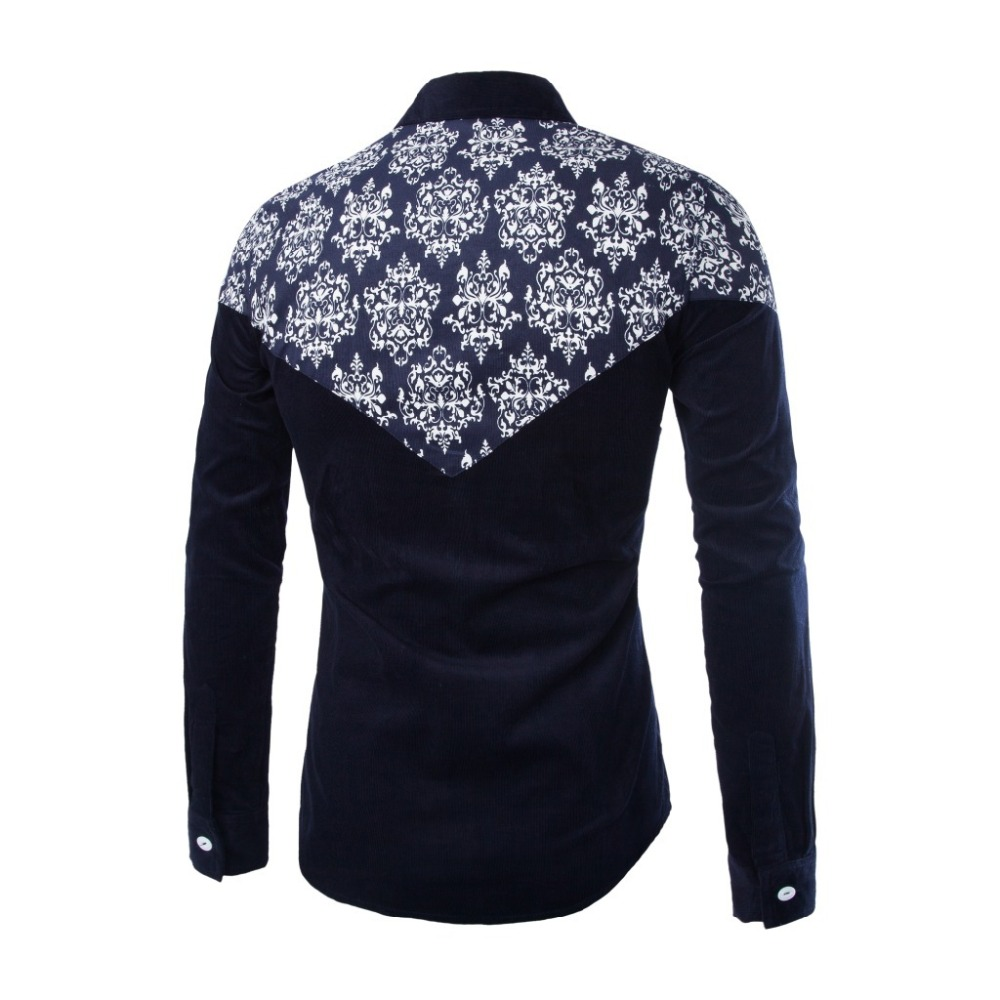 Printed floral shirt men spring autumn winter mens dress for Mens printed long sleeve shirts