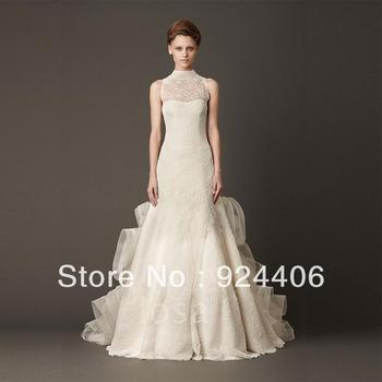 Free shipping,Customize,Simple,Wedding dress,Weddinggown.A Line,High Collar,Floor length,Sweep/Brush,Flower,Lace,Taffeta,Organza