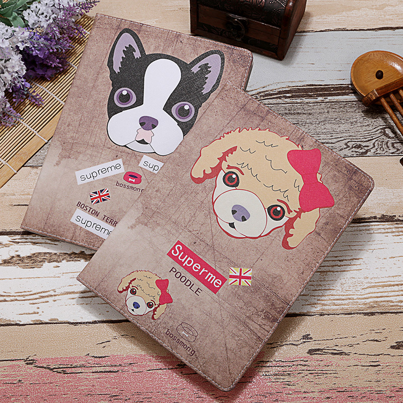 New Cute Folding Edge Dog Sheep Luxury Tablet Case For IPad 4 Cover For Ipad 2 Case For Ipad 3 PU Leather Full Body Smart Kids(China (Mainland))