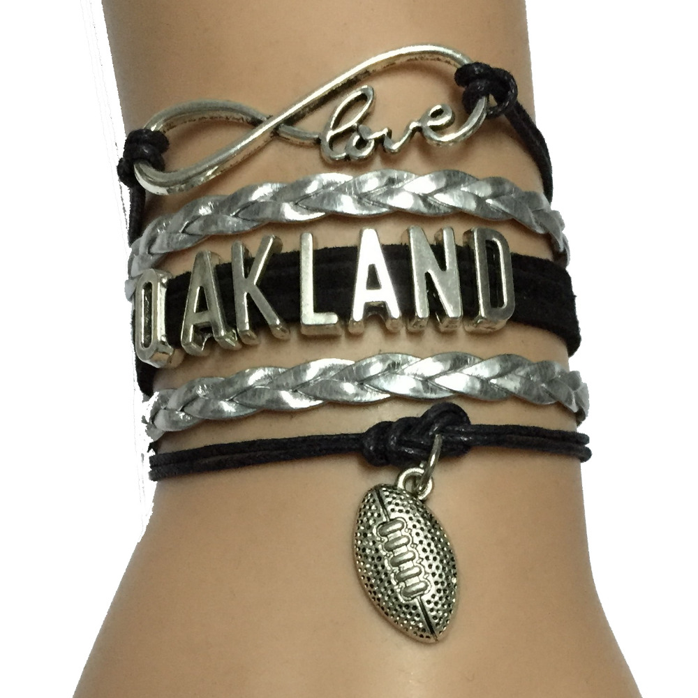 Personalized Drop Shipping Leather Braid Handmade Oakland State or University College Football Bracelet NFL Team Bracelets(China (Mainland))