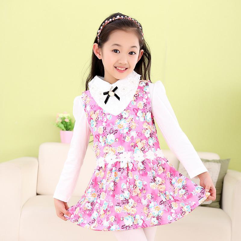 2015 new spring models Kids girls dress children long-sleeved dress big virgin princess dress cute floral(China (Mainland))