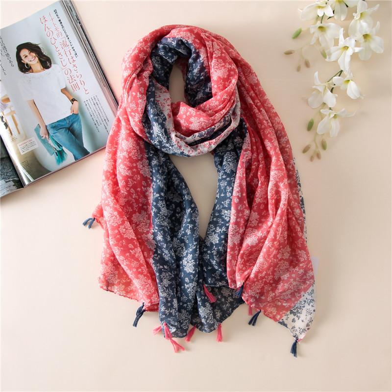 wholesale 6pcs/lot ethni cscarves bohemian geometric floral tassel scarf muslim scarves hijab fashion brand design(China (Mainland))
