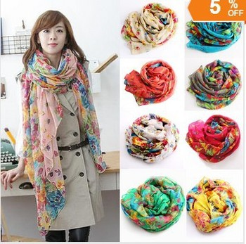 2015 New Style Joker Fields and Gardens Shivering Women Printed Scarf Shawls Drape Wrinkle Scarves with Beautiful Flowers WJ3084