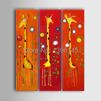 Free Shipping Big Size 100% Hand-painted Abstract Modern Decor Animal Giraffe Painting On Canvas Hotel Decoration 3pcs Painting(China (Mainland))