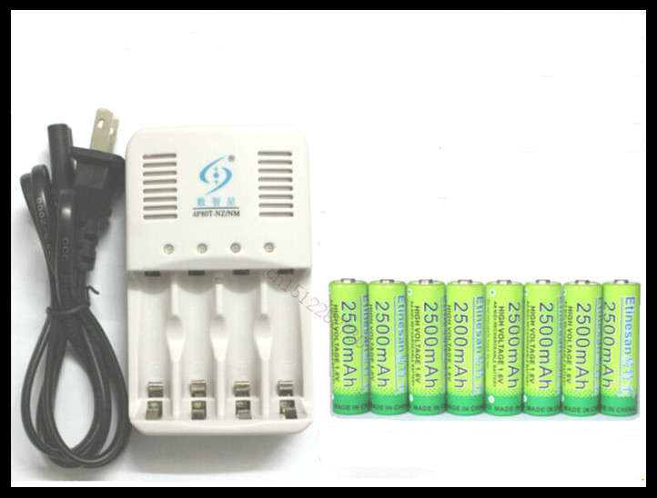 8 Pcs/lot Etinesan NiZn 1.6V 2500mAh AA Rechargeable Battery+4 slot Ni-Zn NiMH AA AAA battery Charger High Voltage and powerful(China (Mainland))