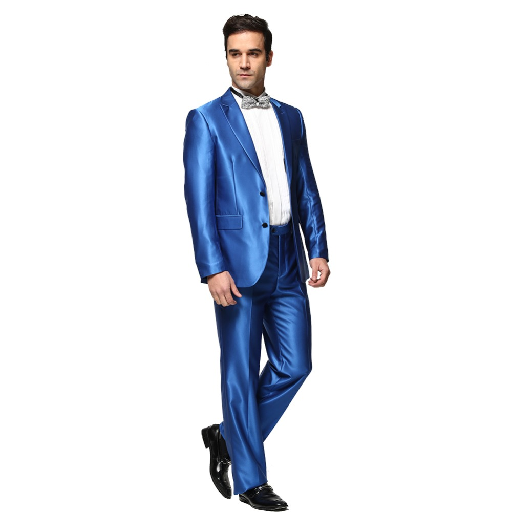 (Jacket+Pant)Men Solid Color Shiny Blue Wedding Dress 2016 New Arrival Men Fashion Suits Casual  Blazer Costume Homme C0007Одежда и ак�е��уары<br><br><br>Aliexpress
