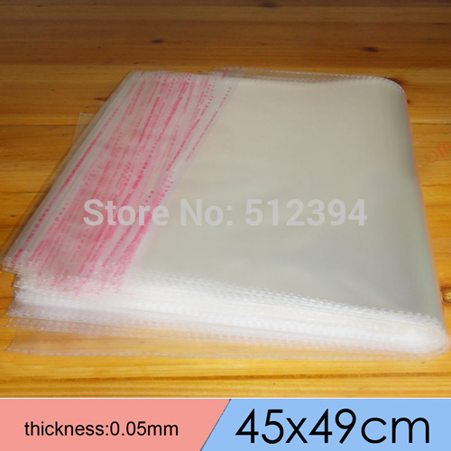 High quality 45*45+4cm Large Self-adhesive Clear Resealable Plastic OPP Bags for Pillowcase packing 45x49cm thick0.05mm(China (Mainland))