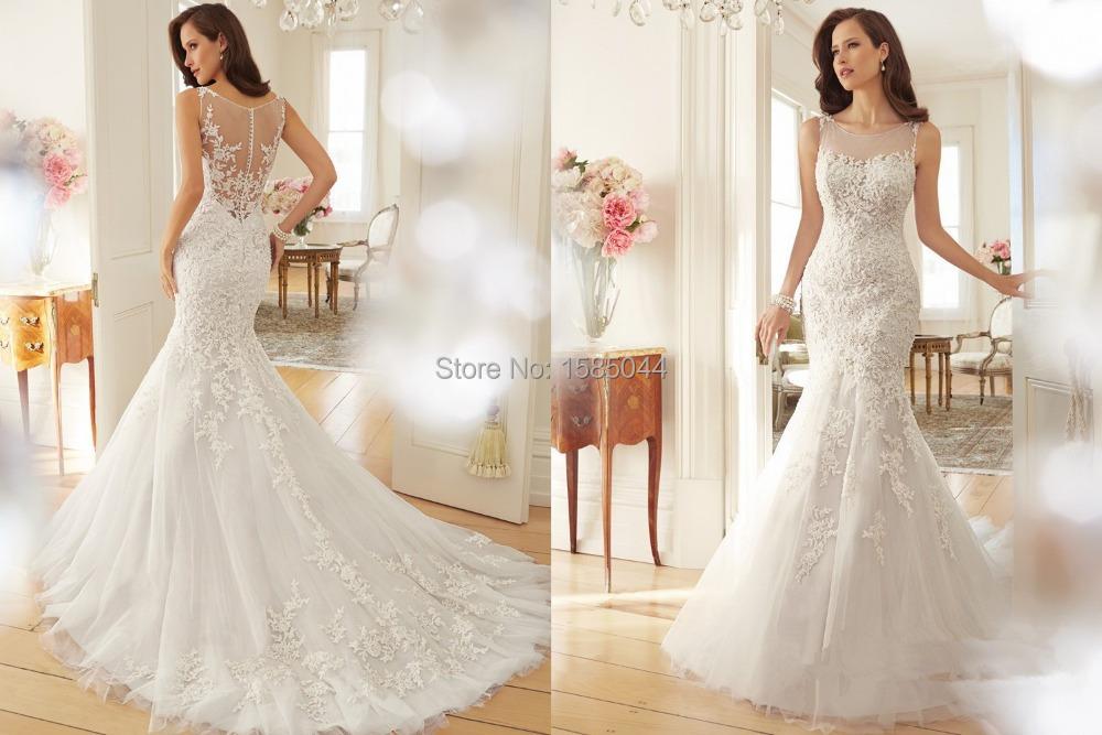 2015 Lace Mermaid Wedding Dresses Scoop Sleeveless Button Sweep Train Longo Applique 2016 Bridal Dress Gowns - Dream Wedding Dress