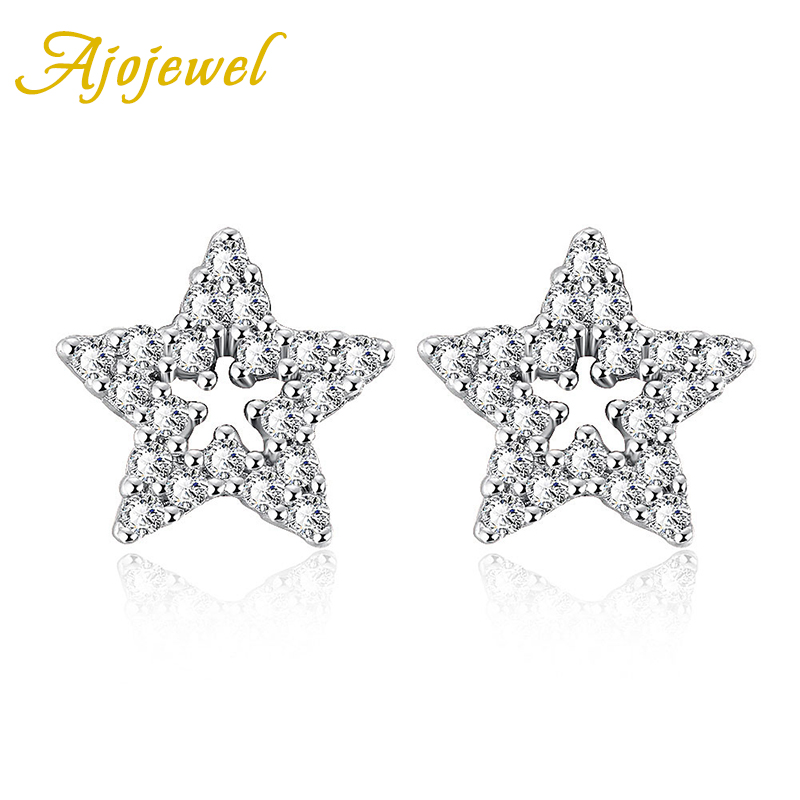 738 Ajojewel New Arrival Ajojewel Brand Golden Micro Pave CZ Small Star Stud Earrings Women(China (Mainland))