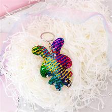 Nuevo llavero lindo del perro del gato del Oso de Chaveiro para las mujeres brillo pompón lentejuelas Animal llavero regalos para chico llavero del coche(China)