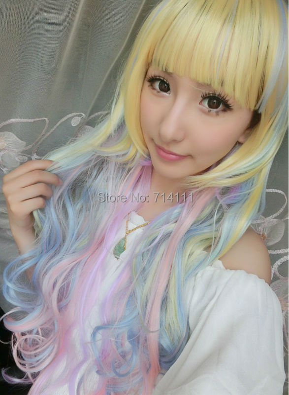 Lolita Harajuku Icecreen Multi-Color wave mix color long synthetic hair cosplay wig<br><br>Aliexpress