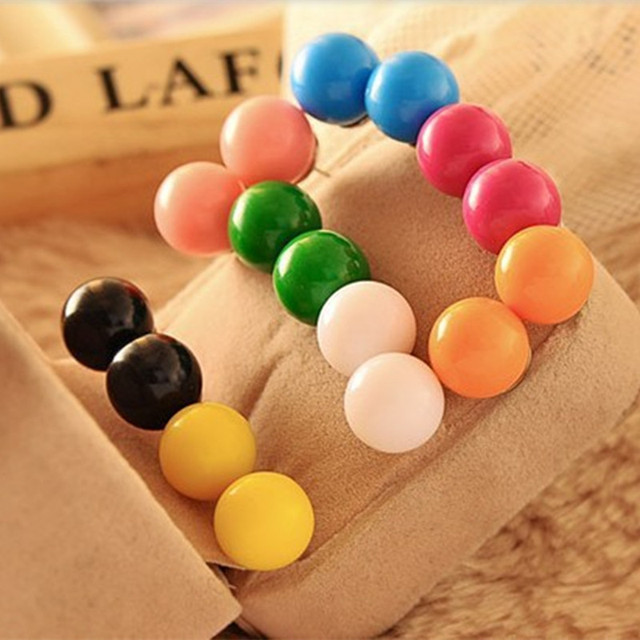 Sunshine fashion Candy color ball pearl stud earrings 12 pieces a lot factory price