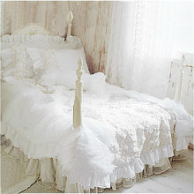 Hot  4pcs/set Romantic white lace rose bedding set princess duvet cover sets bedding for wedding bedding luxury bedroom textile(China (Mainland))