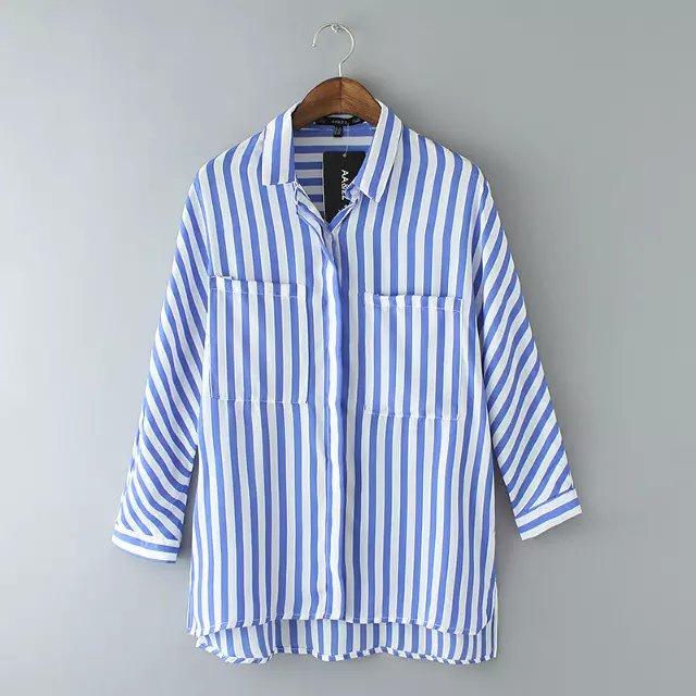 Women Long Sleeve Blue Stripe Shirts Ladies Casual Loose Blouse with Pockets Stripe Blouse Finge Shirt Chemise Femme Blusas(China (Mainland))