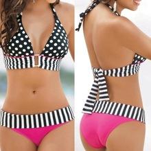 Free Shipping 2015 hotsale Sexy Women Swimwear Bikini Set Bandeau Push-Up Padded Bra Swimsuit(China (Mainland))