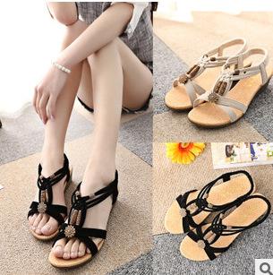 2015 Women Sandals Shoes Casual Chaussure Open Toe Flat Pu Leather Beach Gladiator Sandalias Femininas Shose - Angle KIss You store