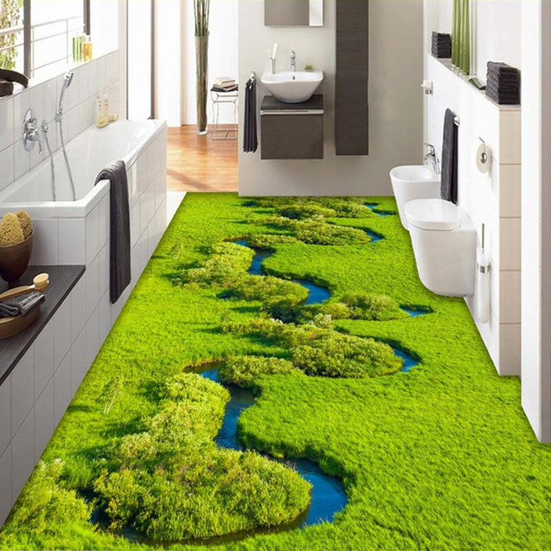 Custom photo wallpaper meadow creek wetland plant pvc for Bathroom floor mural