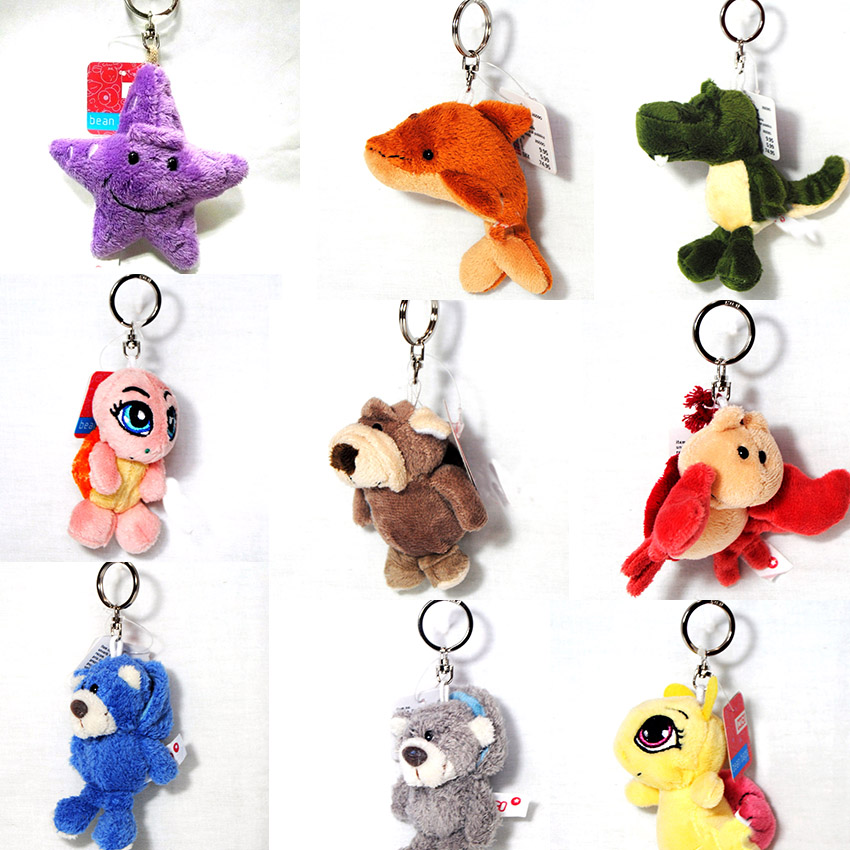 10pcs Mixed 10cm Animals Cat Monkey Seastar Ladybug Owl Bear Dog Keychains Small Pendant Plush Toys Bag Pendant Kid Toys<br><br>Aliexpress