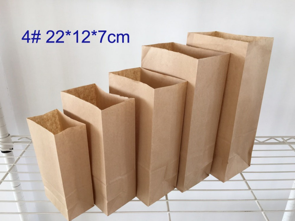 Buy wholesale 100 pcs lot 4 24 13 8cm for Brown paper craft bags