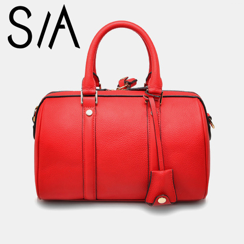 New Cowhide Leather Women's Bags Black/Red Luxury Boston Vintage Handbag Woman Fashion Designer Real Tote