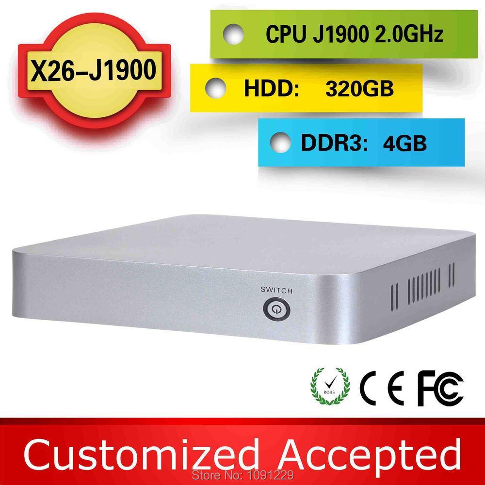 HOT Selling mini pc usb 3.0 intel tv box windows 8.1 micro computer x26-j1900 support windows 7/8 4g ram 320g hdd(China (Mainland))