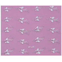 3D Nail Art Stickers Decal Beauty Cute White Butterfly Clear Rhinestones Design Decorative French Manicure Tools