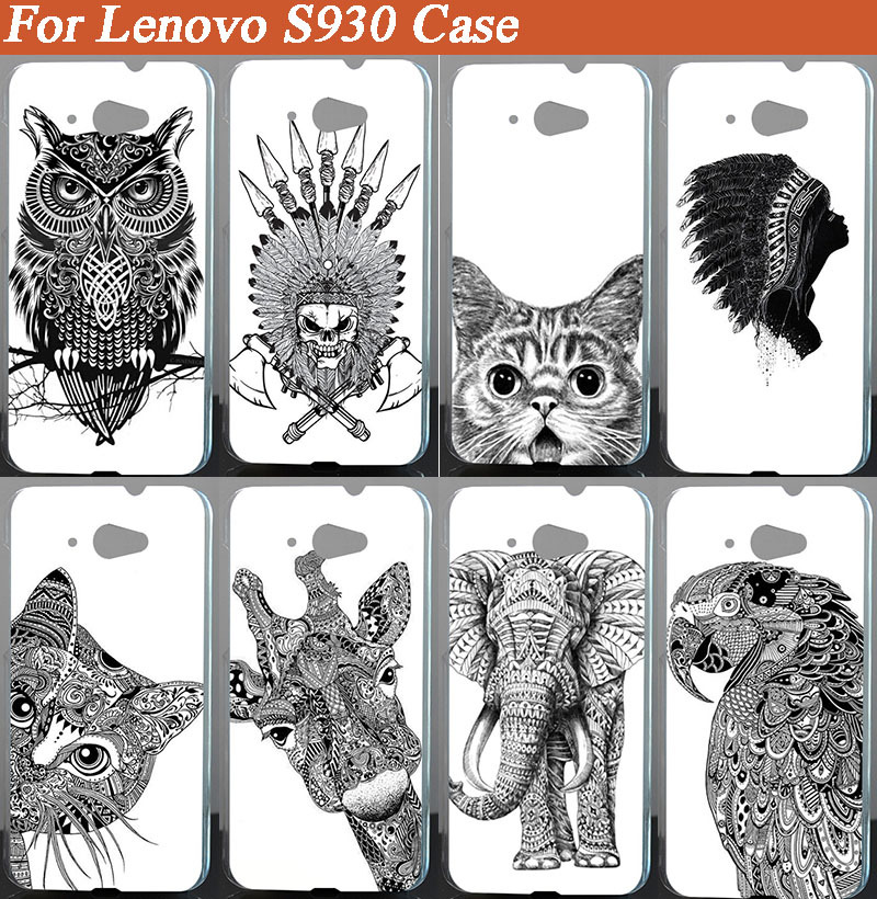 hot diy 3d painted white and black animals cover case skin sheer for Lenovo S930 Case Cover Free Shipping(China (Mainland))