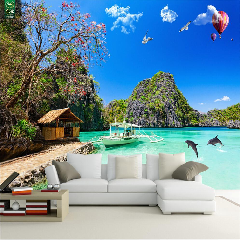 Free Shipping Hawaii Seaview 3d background mural wallpaper living room bedroom sofa TV background wallpaper