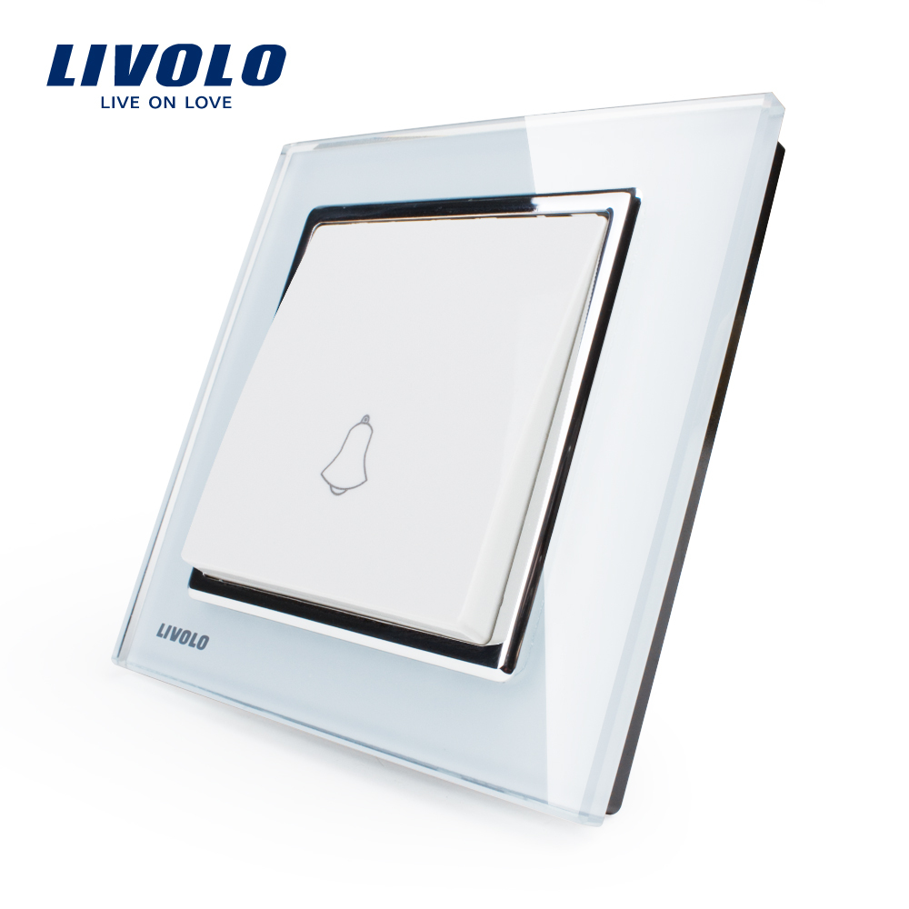 Free Shipping, Livolo New Doorbell Switch, White Crystal Glass Panel, AC 110~250V Home Wall Doorbell Switch VL-W2K1D-12(China (Mainland))