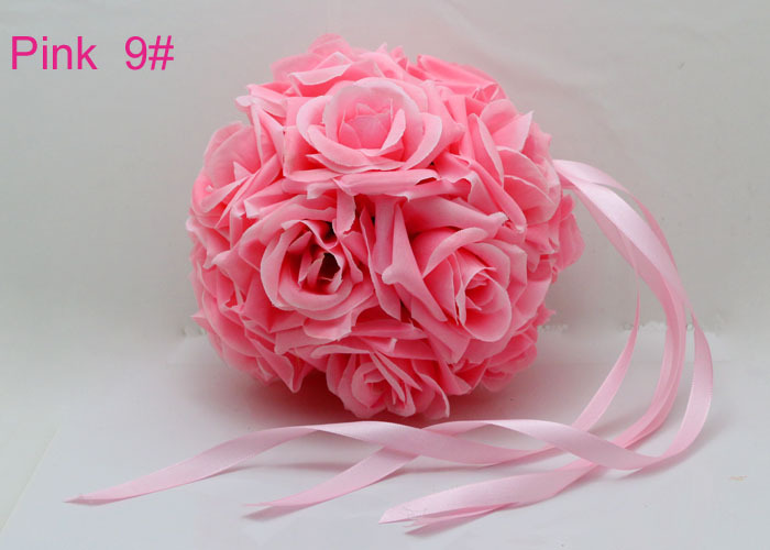 Free Shipping 20cm / 8 inch Pomander Kissing Ball Silk Rose Flowers Wedding Party Supply Decoration pink color(China (Mainland))