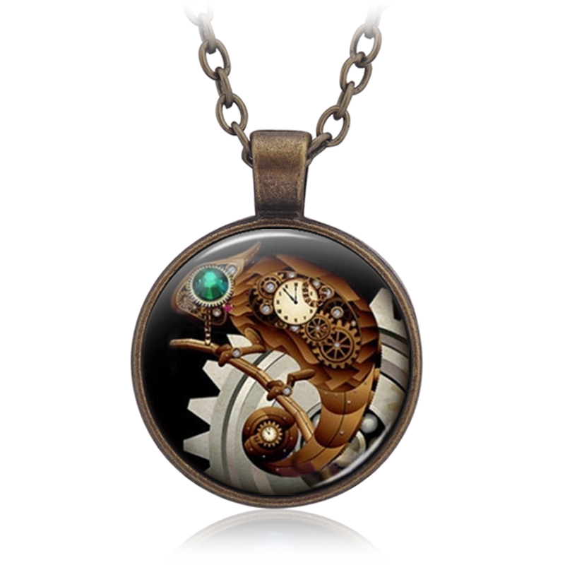 European And American Fashion Cute Punk Time Clock Machine Chameleon Necklace Keychain Leopard Chameleon Pendant Necklace(China (Mainland))