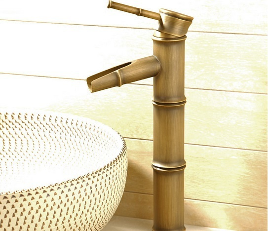 30cm high Antique brass bamboo tap faucet for bathroom kitchen washbasin & sink brass material for hot & cold water