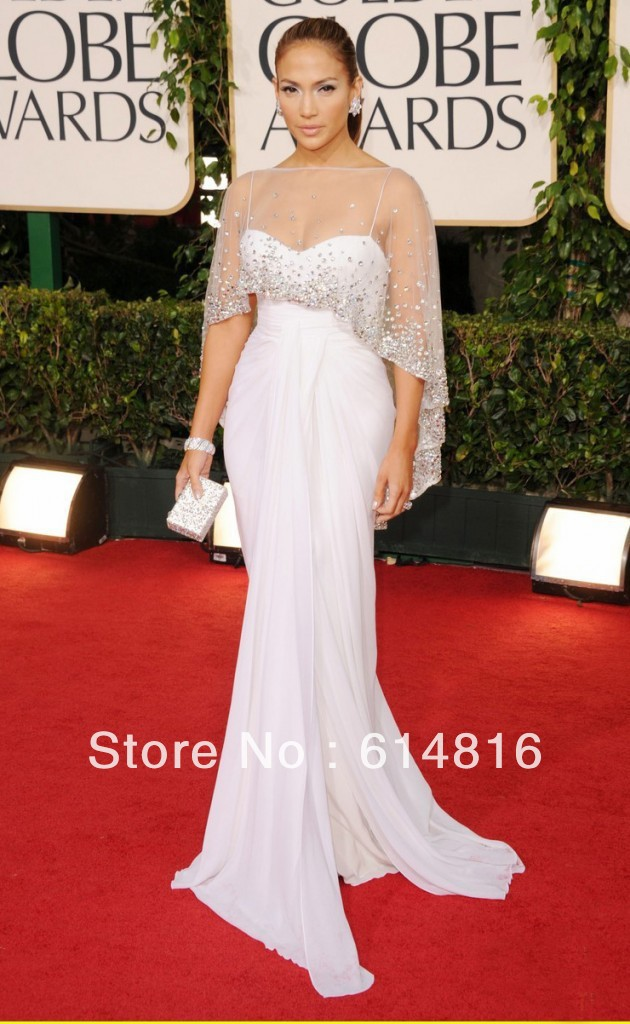 New Fashion Beaded Mermaid Evening Celebrity Gown With Jacket Jennifer Lopez Wears Evening Dress At 2013 Golden Globes FE2037(China (Mainland))