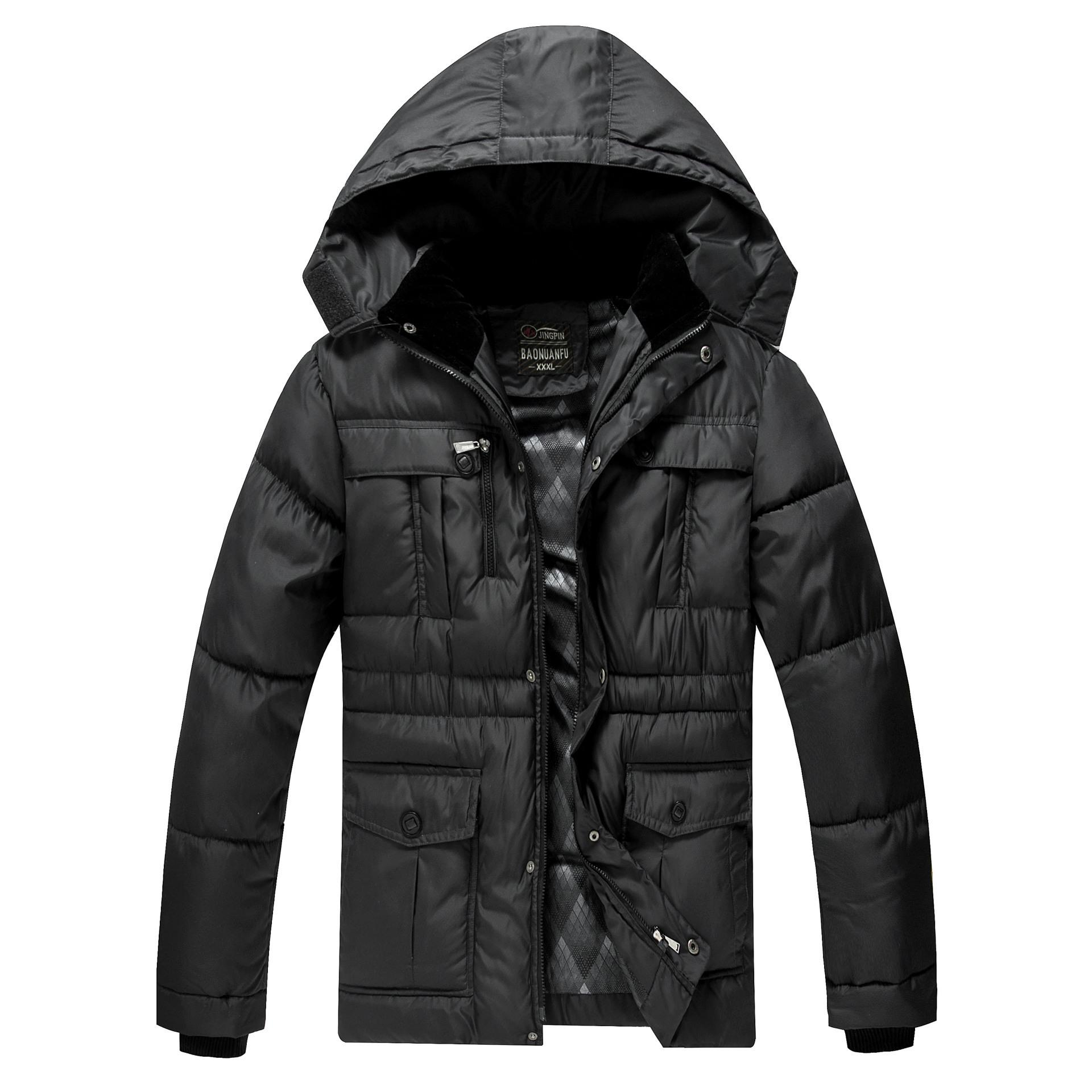2015 Turn-down Collar Hat Detachable Slim Chaqueta Hombre Parka Winter Men's Jacket Coat Big Yards Thick Men