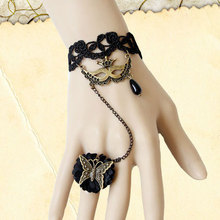 New Handmade Sexy Womens Venice Mask Drop Bead Butterfly Black Floral Lace Adjustable Ring Bracelet Wristband Lolita Gothic Ball