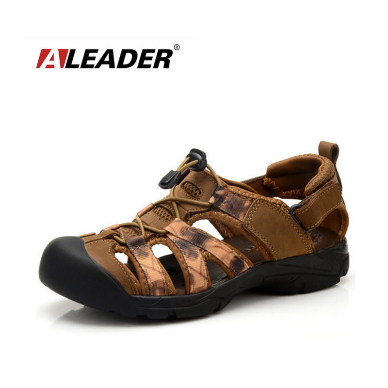 Mens Leather Sandals Summer Hiking Shoes New 2015 Waterproof Sport Sandals Shoes Closed Toe Casual Mens Shoes Beach Sandals