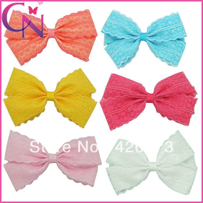30 pcs/lot 5.5 inch layered lace and satin ribbon hair bow boutique handmade baby hair accessories(China (Mainland))