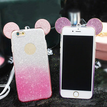 Hot Mickey Ears Glitter Shining TPU Back Cover Case For iphone6S&6 PLUS