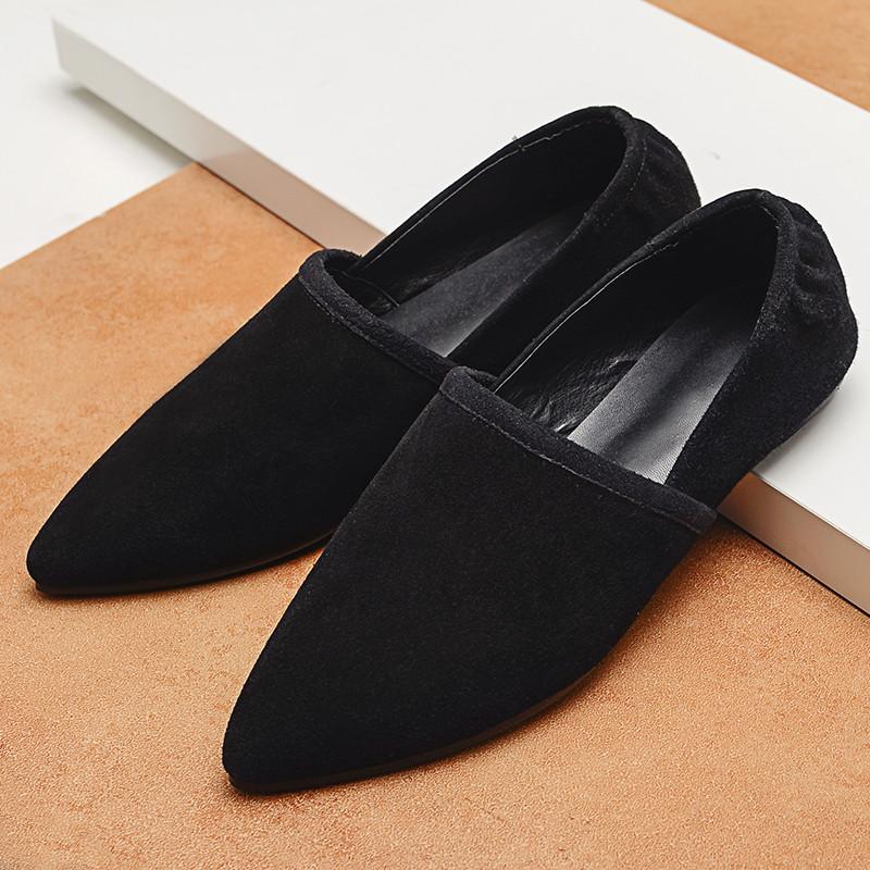 Women's Suede Leather Slip-on Ballet Flats Brand Designer Pointed Toe Ballerinas Shoes for Women Bordered Leisure Espadrilles