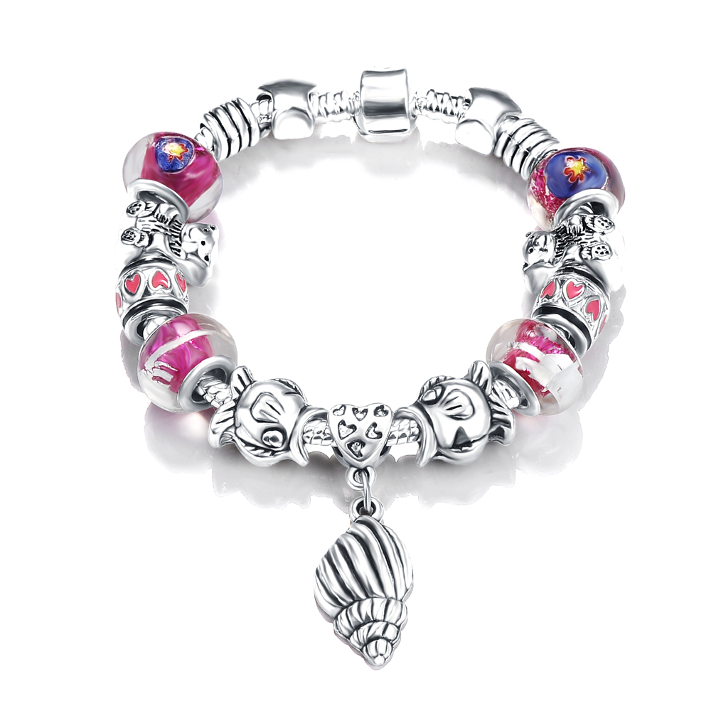 ANFASNI Silver Plated Girls Fish Bear Beads with Conch Charms Bracelet for Women Wholesale PCBR0042(China (Mainland))