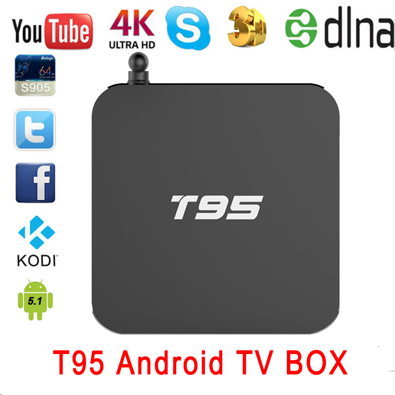 1pcs T95 Android 5.1 TV Box Amlogic S905 Quad Core 1G Rom 8G Kodi16.0 Bluetooth Dual WIFI 2.4GHz/5.0GHz Metal Case LED Display(China (Mainland))