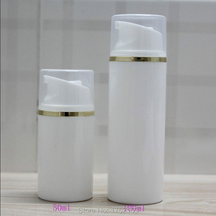 Wholesale 50ml White Plastic Airless Bottles With Gold Line and white or transparent Lids Plastic bottle,Press pump bottles(China (Mainland))